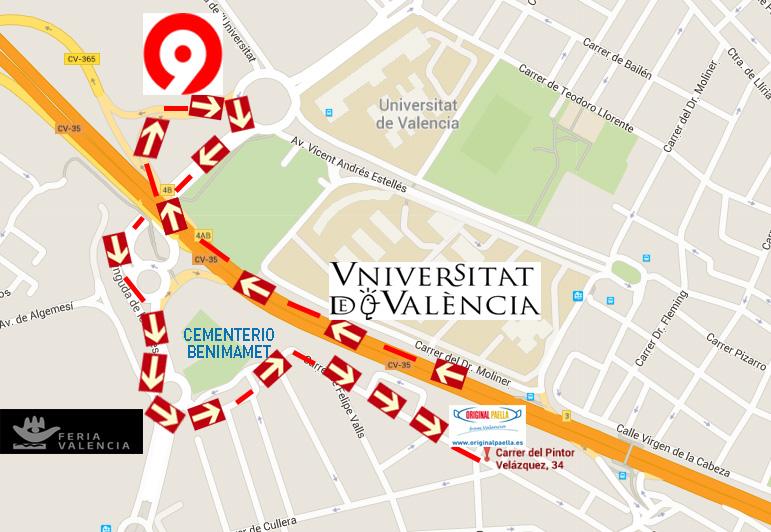 mapa original paella calle Pintor Velazquez nº34 46100 Burjassot Valencia