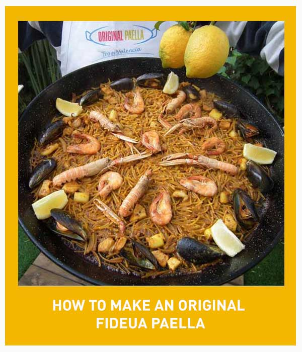 Original fideua Paella Recipe from Valencia step by step with photos, video and pdf download file from Valencia Spain