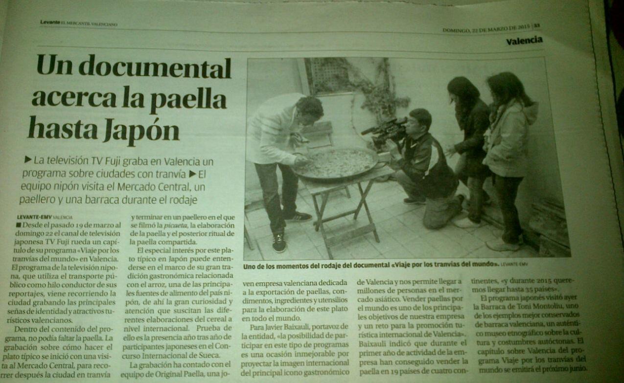 periodico levante 21-03-15 originalpaella.es acerca la paella a Japon