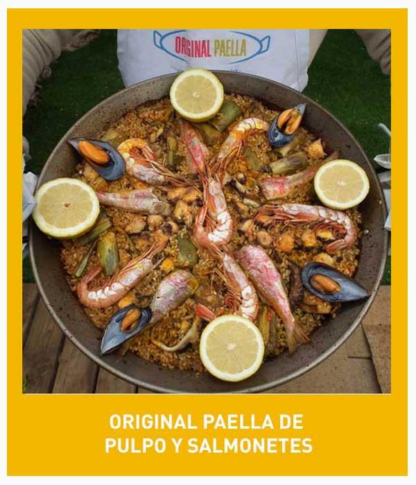 receta de la paella de pulpo, salmonetes y alcachofas paso a paso con fotografias, video y pdf descargable