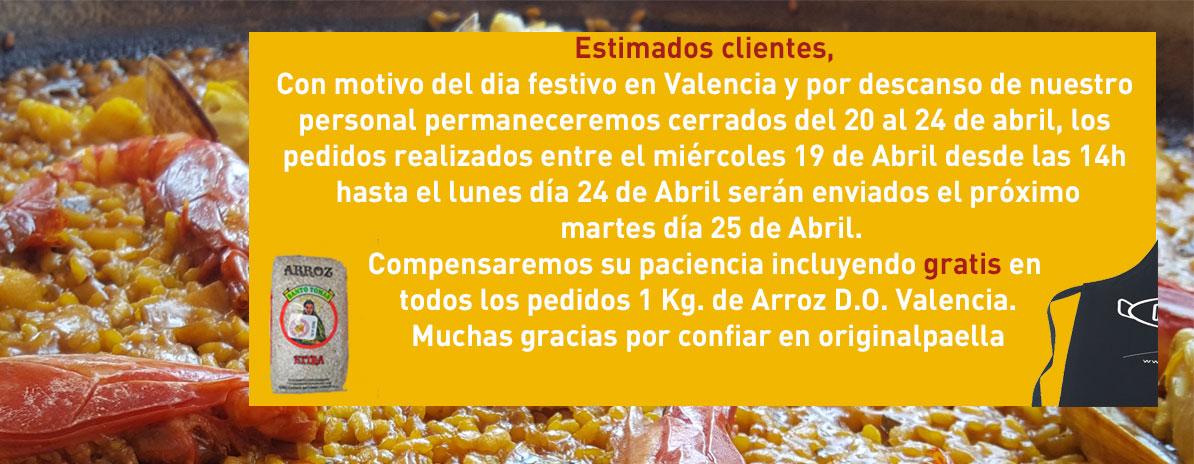 la tienda mas grande de paellas o paelleros y paelleras te regala el delantal oficial de Original Paella de Valencia gratis