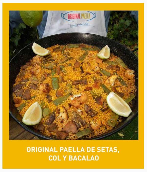 receta de paella de rebollones, col y bacalao paso a paso con fotografias, video y pdf descargable