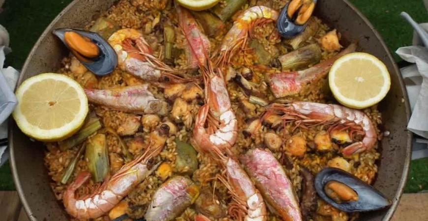 Guia facil arroz con pulpo, salmonetes y alcachofas